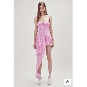 FOR LOVE AND LEMONS COSMO ASYMMETRICAL DRESS PINK